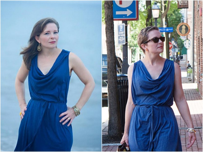 then and now blue dress